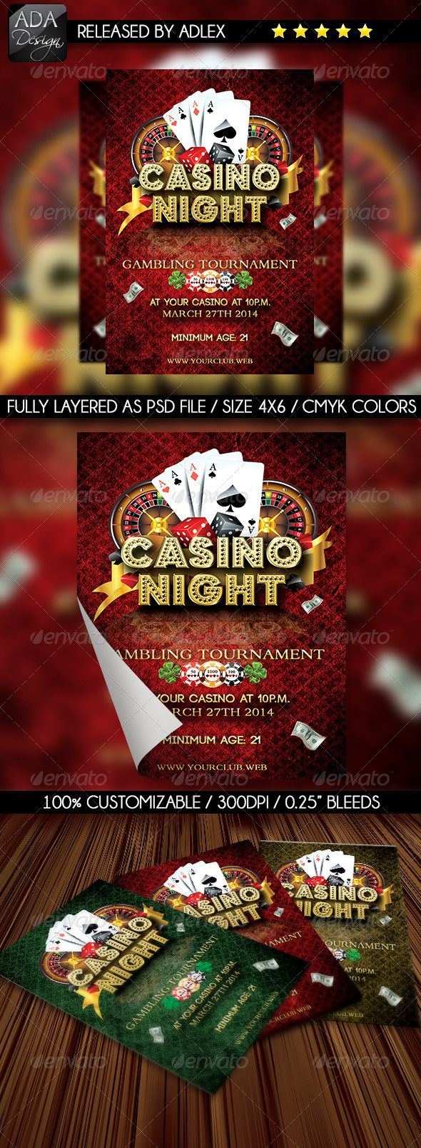 Now, you can amaze clients with this impressive party Casino Night Flyer Template, coming with a special flyer.