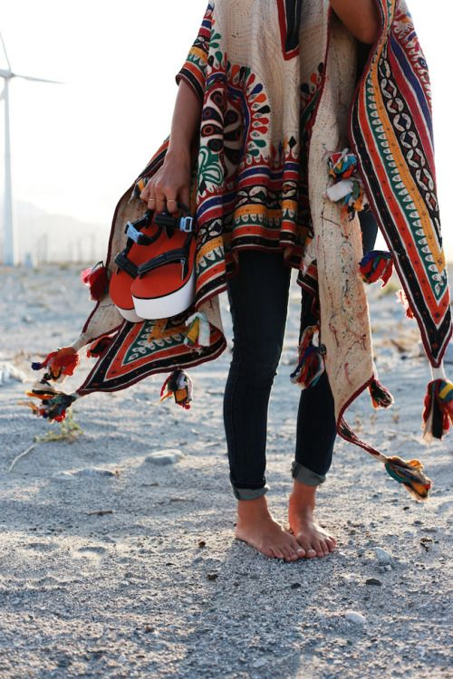 Boho Look | Aztec Poncho, jeans skinny, hippie chic
