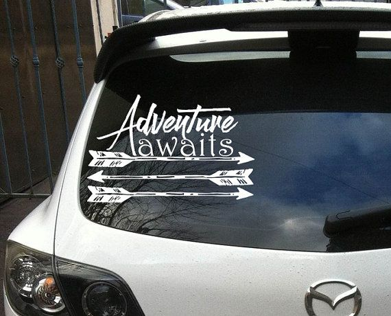 Car decals adventure awaits vinyl sticker decals by lollipopdecals