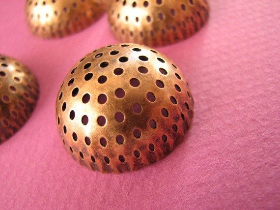 20 mm #Perforated #Disc Bronze Color / Copper http://etsy.me/1B6vF1O #jewelry #ring #mount #brass #jewel #gem #bezel #setting