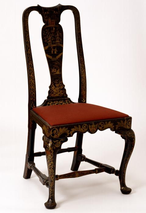 queen anne style side chair boston 1740 1760 japanned mahogany