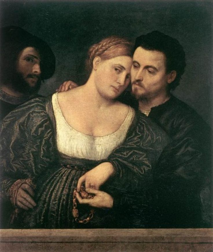 The Venetian Lovers, Paris Bordone, 1525-1530. The scene is one of venal love (note the pallor of the man embracing the woman). Although the mysterious third figure with the swaggering air may portray a procurer, his artist's beret suggests that it may be a self-portrait. In that case the meaning of the work would be allegorical rather than specific.