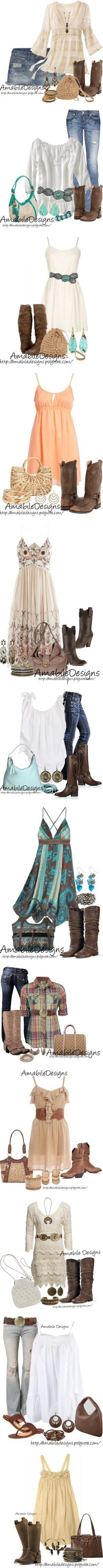 """Country Chic Look"" by amabiledesigns on Polyvore. Seriously...who am I? I'm not girly at all, but I like this."