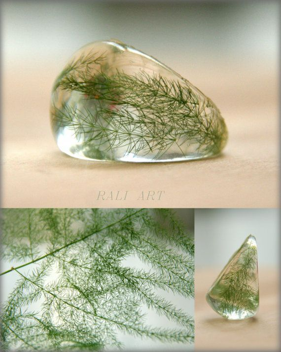 Vraie fleur résine, résine de l'anneau, fougère bague résine, résine claire, Handmade anneau de résine de cristal et de fougères,