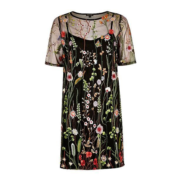 #River #Island #jurk #wehkamp #flower #fabric #see #trough #slip #on #floral #colorful #mesh #dress #botanical #forest