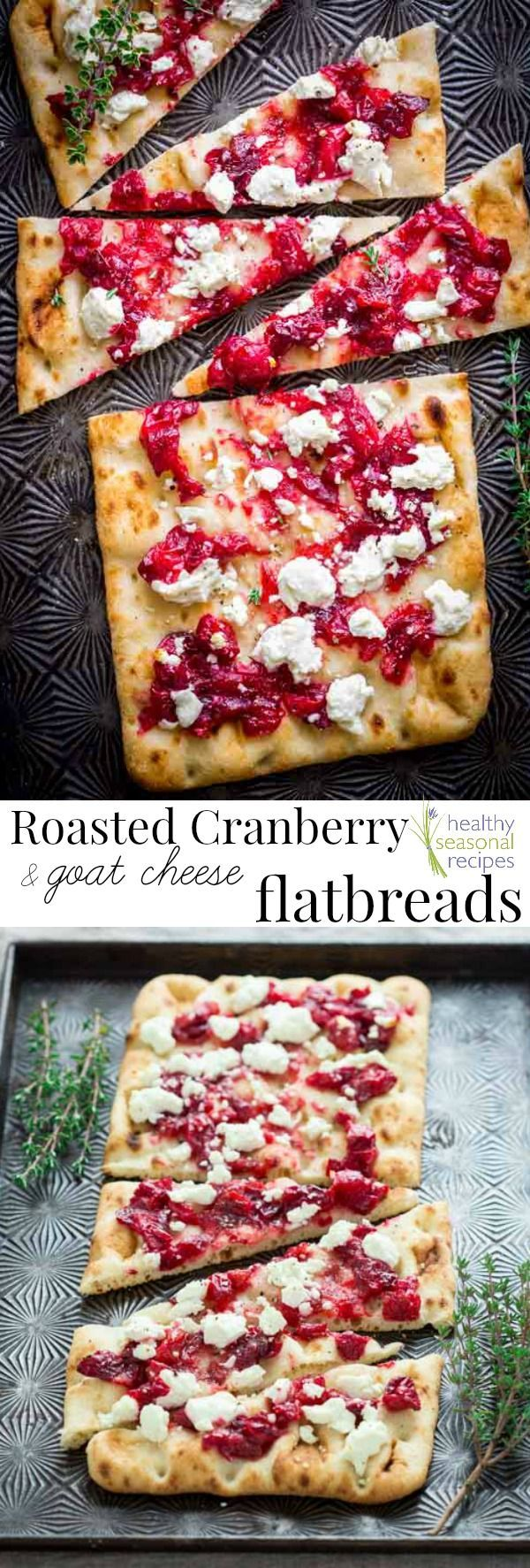 1 1/2 cup Cranberries, fresh. 1 tbsp Shallot. 1/2 tsp Thyme, dry. 3 tbsp Maple syrup, dark pure. 1/4 tsp Salt. 2 Stonefire flatbreads. 1 4-ounce package Goat cheese, fresh.