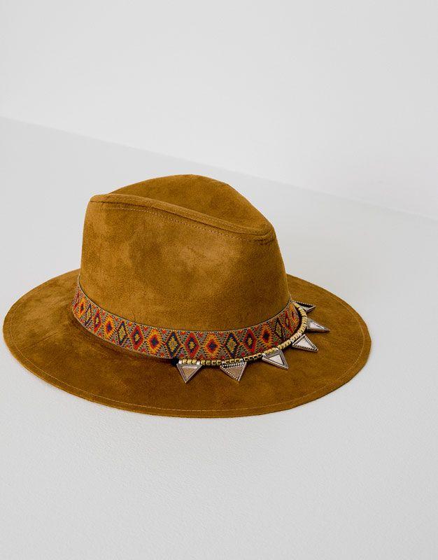 Pull&Bear - femme - accessoires - bonnets et chapeaux - chapeau ruban détails - ocre - 09830301-I2016
