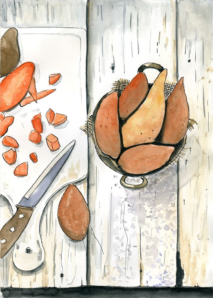 food-illustrations: Pieczone bataty