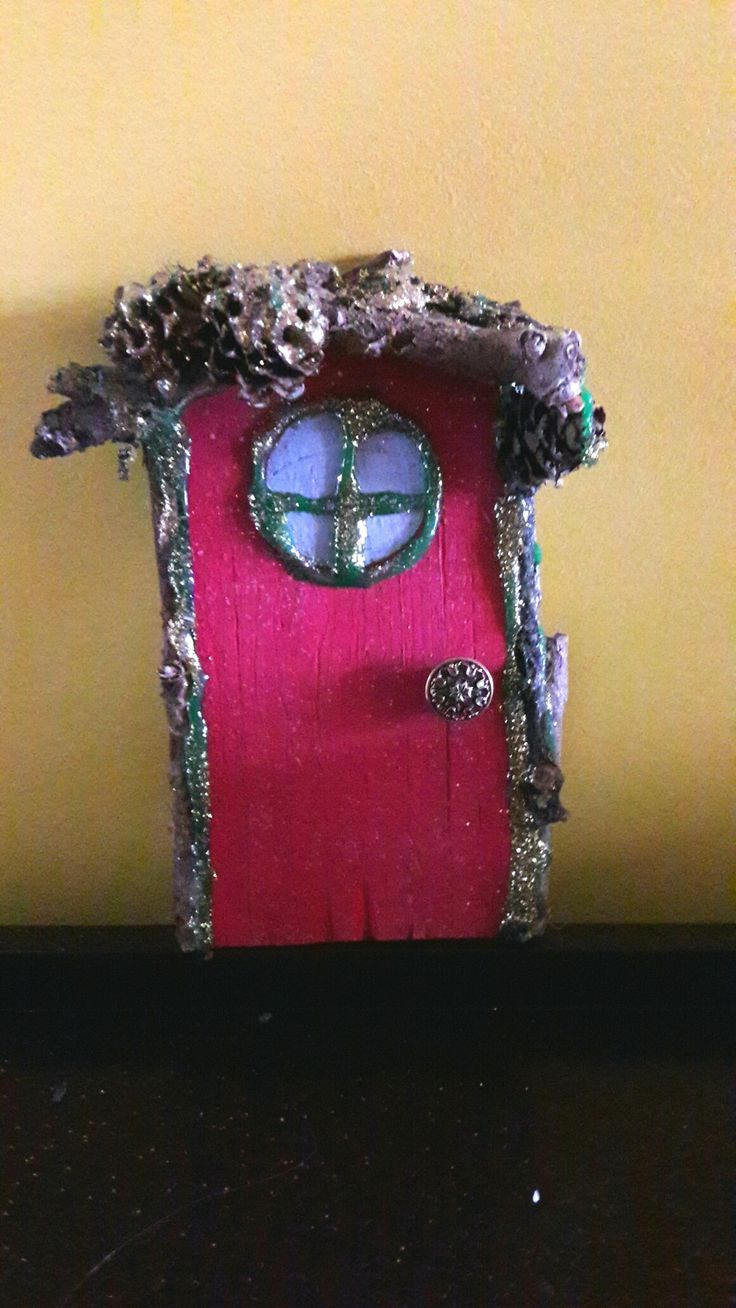 Fairy door made with nature walk finds.