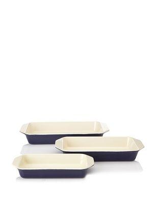 80% OFF Chasseur 3-Piece Rectangular Gratin Baker Set (Blue)