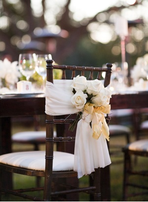 chairs, except with winter deco instead of flowers. Great way to save on linens!