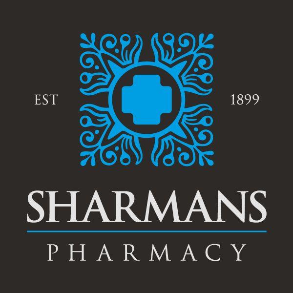 Pharmacy logo design - Sharmans Pharmacy Brand - http://designandi.co.uk/design-project/pharmacy-logo-design-sharmans-pharmacy-brand/