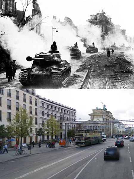 Then and Now WWII: Soviet IS-2 heavy tanks at the Brandenburg Gate. Berlin, May 1945.