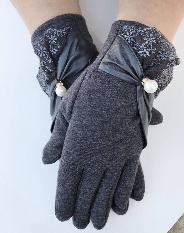 Womens Winter Fashion Dark Grey Lace Lacey Touch Screen Outdoor Warm Gloves #gloves #wintergloves #classygloves #fashiongloves #ladiesgloves #lace #lacey #musthave #winterfun