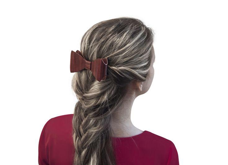 Заколка для волос от БАГ из дерева   Красное красное дерево - красный махагон / Клён L