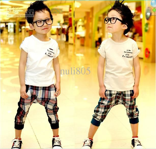 Wholesale Cute Kids SUIT 2012 Summer NEW Korean Boy Solid Color T-Shirt  Plaid Harem Pants Suit, Free shipping, $28.21-39.9/Piece   DHgate. This style pant, but not the colour
