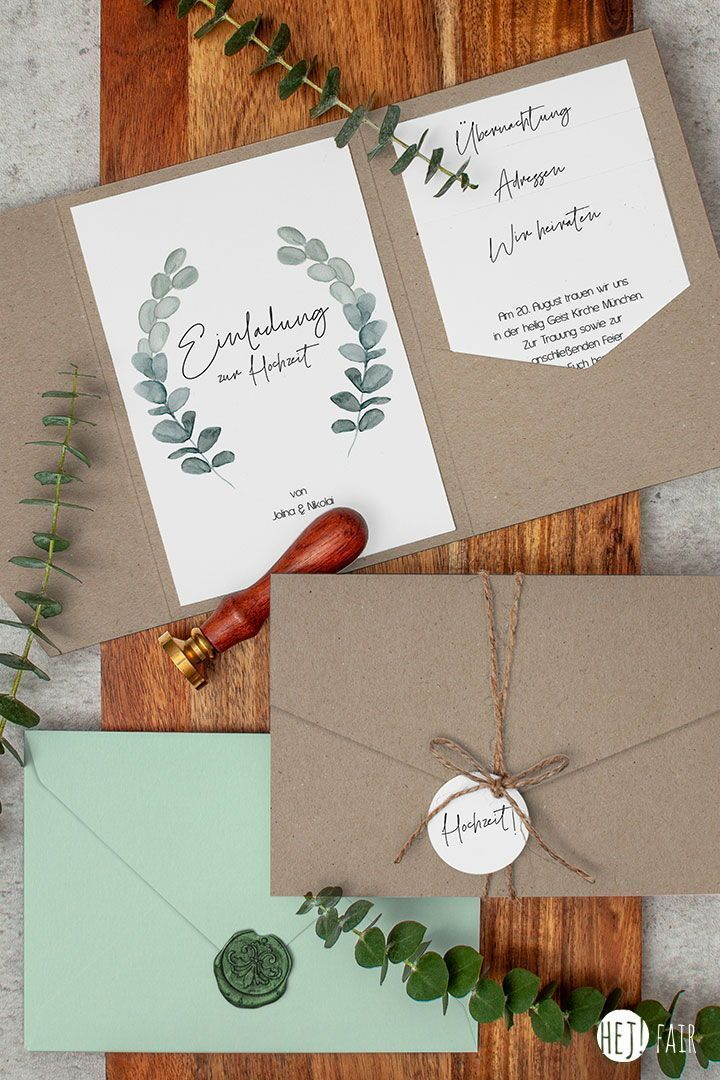 Eukalyptus Nachhaltige Hochzeitseinladung In 2020 Hochzeitseinladung Einladungen Und Einladungen Hochzeit