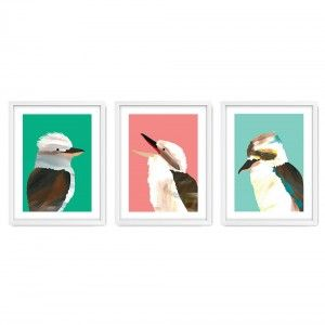 Set of 3 Laugh Kookaburra Laugh Wall Art Prints