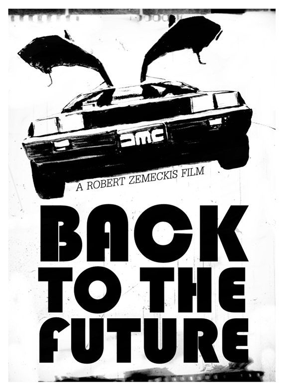 delorean back t the future fine art movie poster in