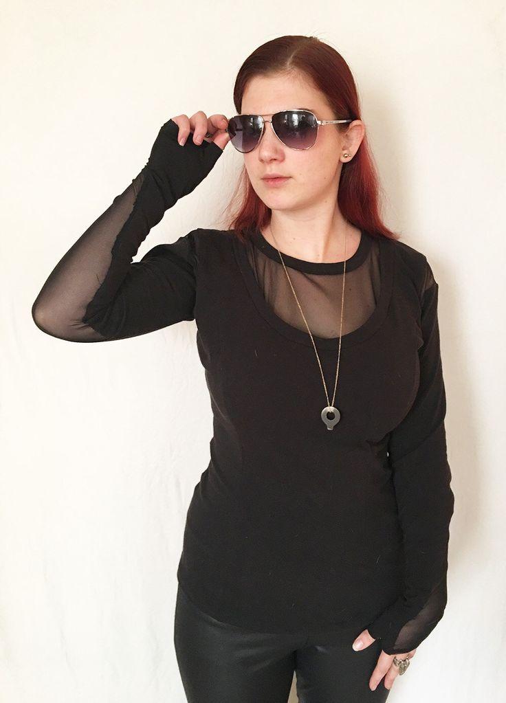 Long Sleeve Sheer Cutout Shirt by SkeletonCloset13 on Etsy https://www.etsy.com/listing/480094268/long-sleeve-sheer-cutout-shirt goth shirt, goth clothing, goth style, goth fashion, see through shirt, sheer shirt