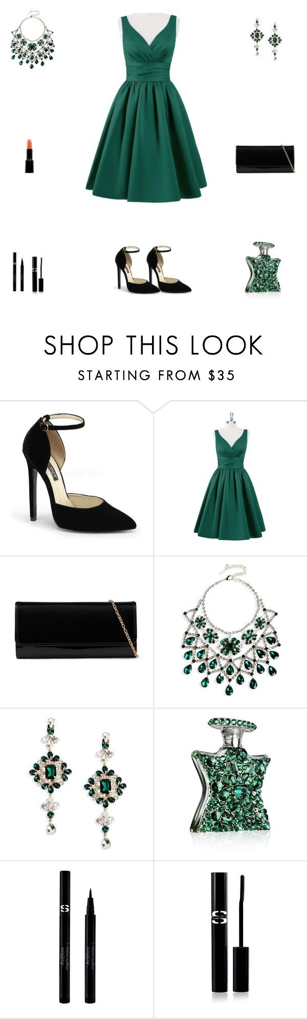"""""""Contest: Black & Emerald Green Outfit"""" by billsacred ❤ liked on Polyvore featuring ALDO, Dsquared2, Bond No. 9, Sisley, Sisley Paris and Giorgio Armani"""