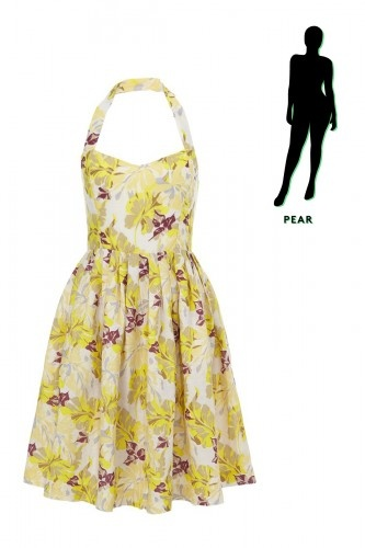 SpringDresses__0004_Pear  The Pear — To best flatter your derrière, opt for flared skirts with a bit of movement, instead of too-tight body-cons. You'll feel comfortable and balance the overall proportions of your frame. Plus, this fitted halter will also instantly draw eyes up, instead of soley focusing on you-know-where. SpringDresses__0004_Pear