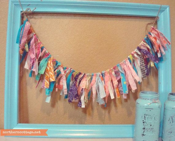 Colorful fabric garland ribbon banner boutique style for Chic modern boutique