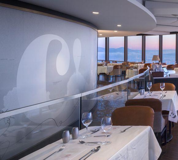 LEMAYMICHAUD | CIEL | Québec | Architecture | Design | Restaurant | Eatery | Hospitality | Bistro | Bar | Natural light | View | Sky | Seating | Chairs | Tables | Lighting | Graphic Design | Architectural Glass