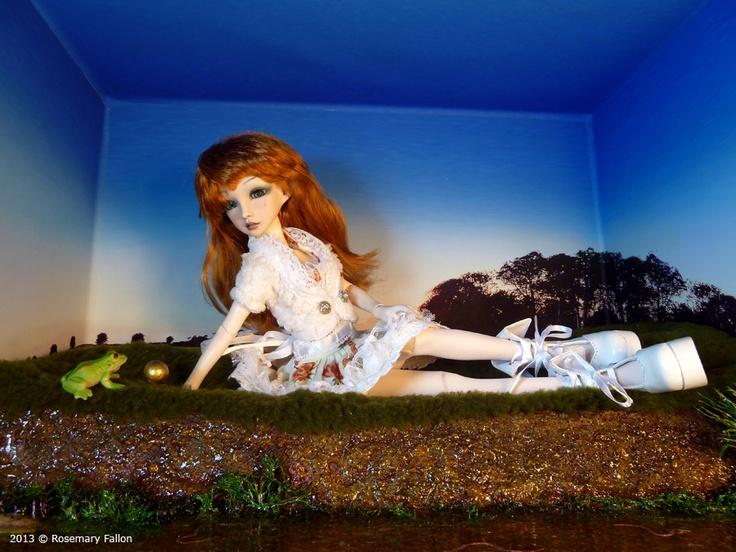 Amy - Custom 1/4 BJD / Doll Box - playing by the stream! artist Rosemary Fallon