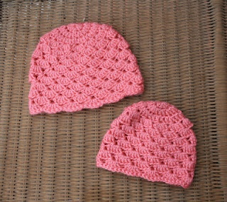 """Free pattern for a shell stitch crochet baby 3-6 month hat.  Use a smaller hook and maybe less rows for a 18"""" American Girl Doll hat."""