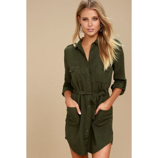 Remy Olive Green Long Sleeve Shirt Dress ($119) ❤ liked on Polyvore featuring dresses, green, long sleeve collared dress, brown dress, olive green dresses, high low shirt dress and army green dresses