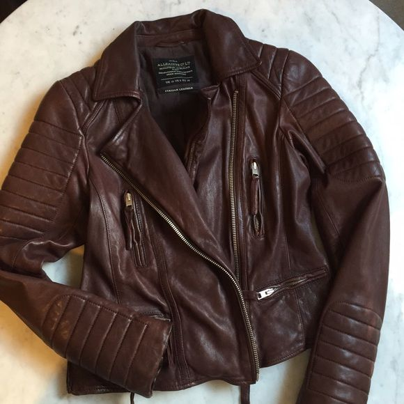 All Saints Leather Jacket Unique oxblood color leather jacket from All Saints! Crafted from smooth, supple Italian leather with a side zipper and quilted details. This jacket a killer addition to your wardrobe! Wear with your favorite jeans or pair it with a dress. It's in awesome condition and has been worn only a handful of times, I'm selling it because I simply don't wear it enough. PRICE IS FIRM.  BUNDLE & SAVE  All Saints Jackets & Coats