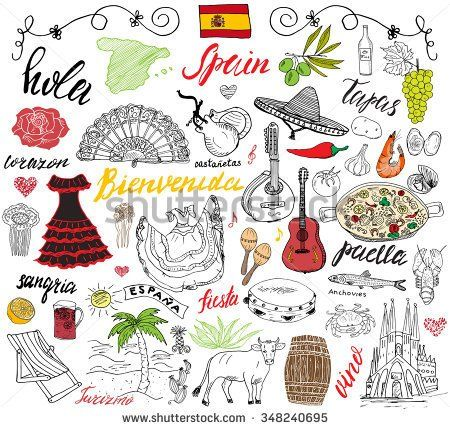 Spain doodles elements. Hand drawn set with spanish food paella, shrimps, olives, grape, fan, wine barrel, guitars, music instruments, dresses, bull, rose, flag and map, lettering. doodle set isolated