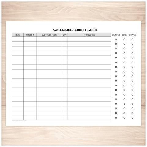 Small Business Order Tracking Page - Order Status Column - Printable Planning