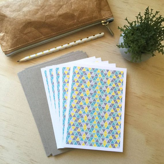 Blank Card Pack -  Geometric Triangles Teal - Set of 5 Cards - 5P005 - Could be used for Thank You, Congratulations etc