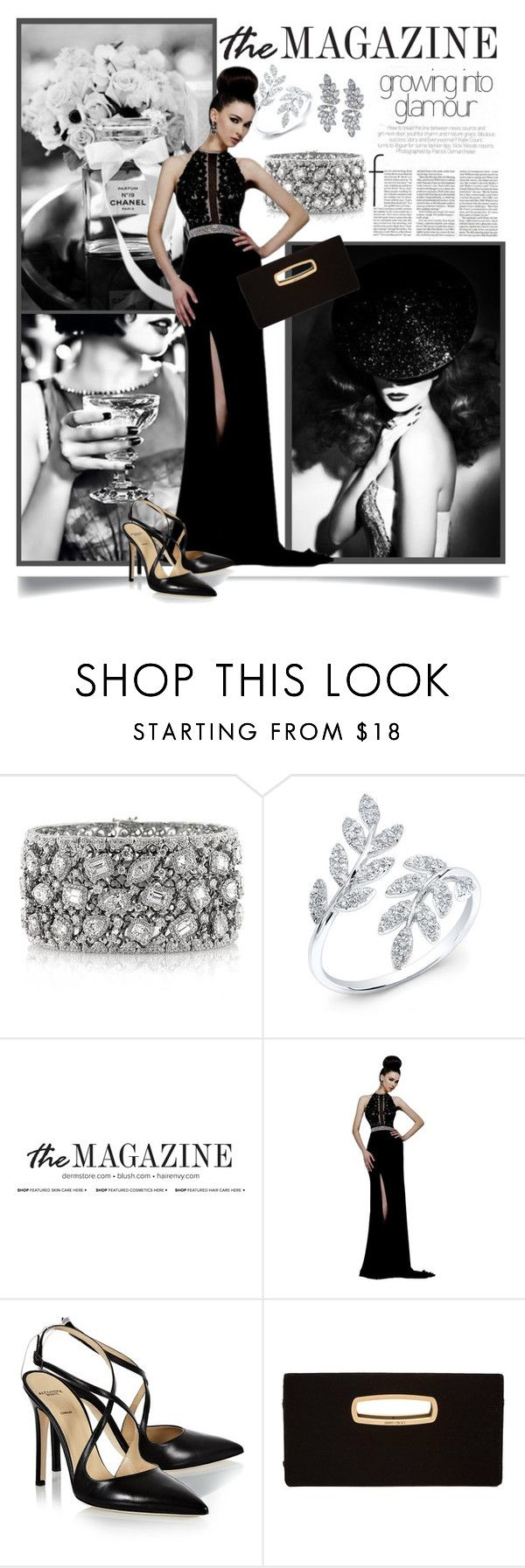"""""""Glamour isn't about age, shape or size. You don't have to be pretty to have it, anyone can create it. - Dita von Teese"""" by danielle-broekhuizen ❤ liked on Polyvore featuring Chanel, Mark Broumand, Sherri Hill, Alexander White, Jimmy Choo, Kenneth Jay Lane, black, blackandwhite, Glamour and gown"""