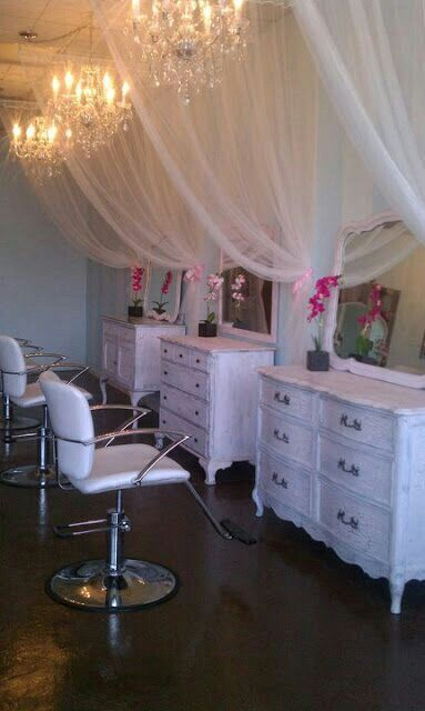 Image result for salon stations divided by beaded curtains