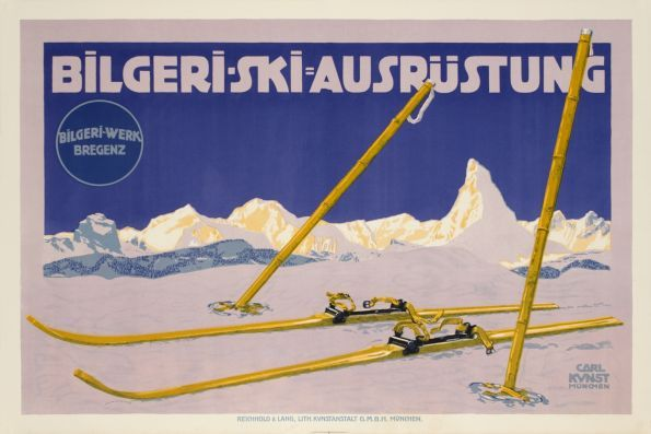 Bilgeri Ski Ausrüstung (by Kunst Carl / 1915) Have a look at this ski outfit.... the mountain in the background is the Matterhorn, below Zermatt in Switzerland. Bilgeri, an Austrian constructor of skiing material used this mountain as a symbole of quality.