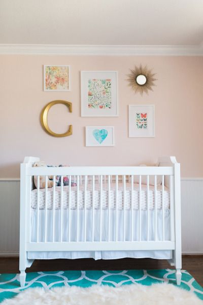 Coral and Turquoise Nusery with a Boho Chic Vibe. Nursery Wall ...