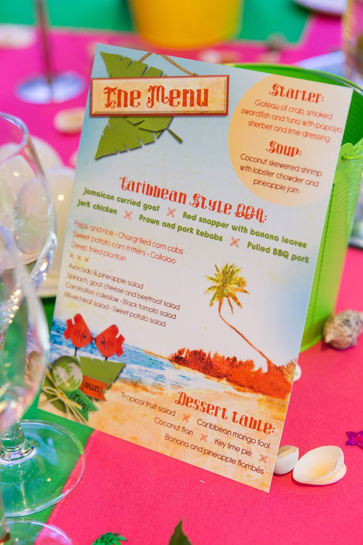 38 best caribbean party images on pinterest caribbean party caribbean tropical beach party menu monicamarmolfo Images