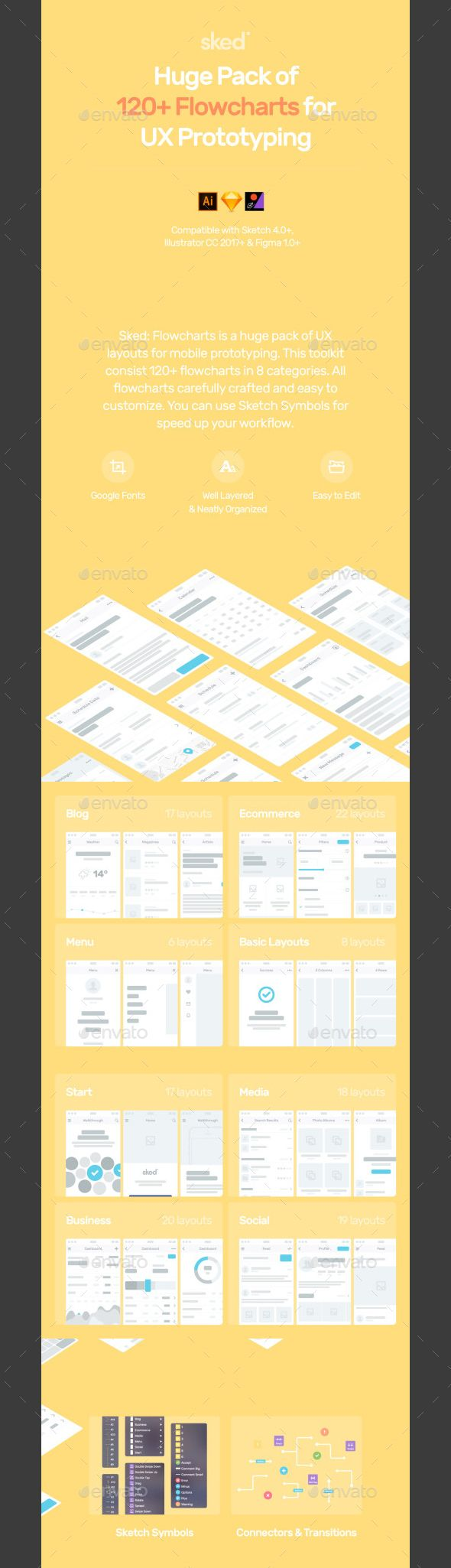 120+ Sked UX Wireframe - #User Interfaces Web #Elements Download here: https://graphicriver.net/item/120-sked-ux-wireframe/20006203?ref=alena994