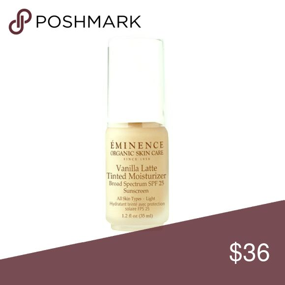 Eminence Vanilla Latte tinted moisturizer Soften and protect skin with an antioxidant-rich, non-clogging tinted moisturizer. Available in three flattering shades from light to dark, this moisturizer delivers lightweight sheer coverage and a natural finish with zinc for SPF 25 sun protection. Makeup