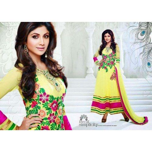 ... Faux Georgette Long Length Anarkali - Salwar Suit by ODFASHION More