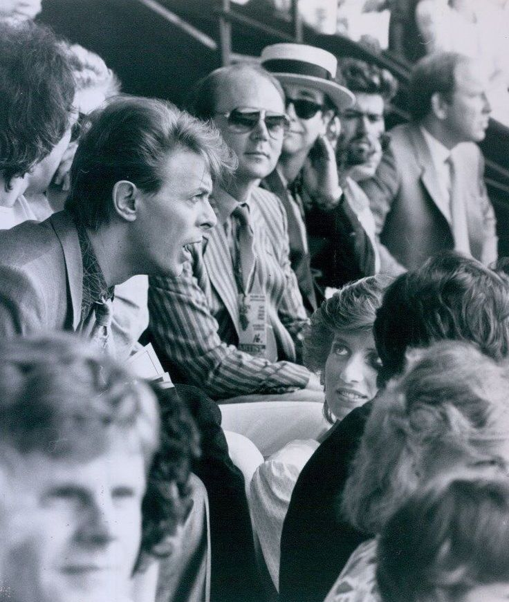 """July 13, 1985: Princess Diana in front of David Bowie and Elton John at the """"Feed the World"""" Live Aid concert at Wembley Stadium."""