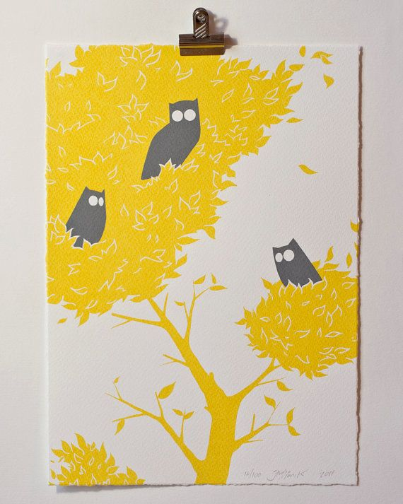 Three owls two colour screenprint on fabriano paper by studiomonik 38 50