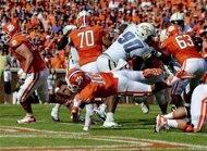 Clemson quarterback Tajh Boyd scores a 1-yard touchdown during the first half of an NCAA college football game against Georgia Tech on Saturday, Oct. 6, 2012, at Memorial Stadium in Clemson, S.C. (AP Photo/Richard Shiro)