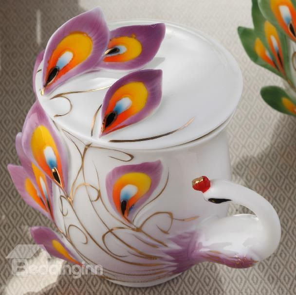 New Arrival Stylish Porcelain Enamel Peacock Cup with Lid - beddinginn.com