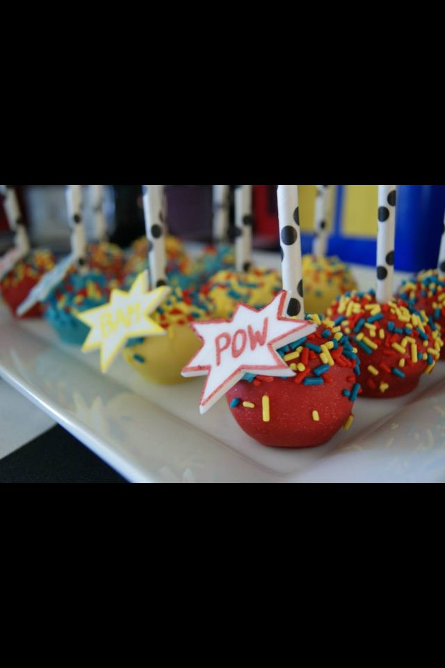 Super hero cake pops- wonder if this would be more cost efficient.