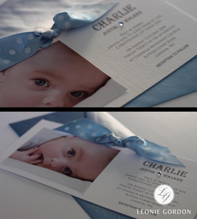 Leonie Gordon London Polka Dots and Baby Blue Christening Invitation for baby boy xx