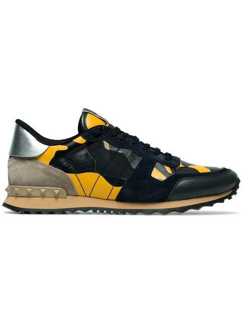 cc9112c32c4 Valentino Yellow Rockstud Camouflage Sneakers | Valentino